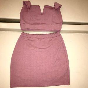 Blush Pink 2 piece Crop top and Mini Skirt